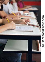 sala aula, escrita, fila, schoolchildren, escrivaninha