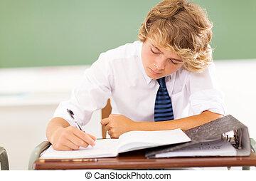 sala aula, estudante high school, escrita