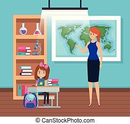 sala aula, estudante menina, professor feminino