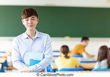 sala aula, estudante universitário, macho, asiático