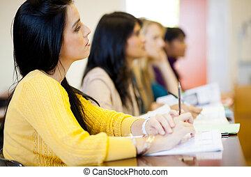 sala aula, estudantes, faculdade, grupo, jovem