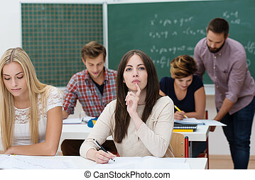 sala aula, estudantes, jovem, femininas, estudar