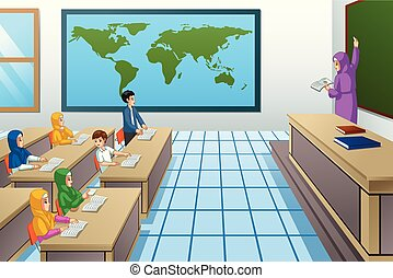sala aula, estudantes, muçulmano, professor, ilustração