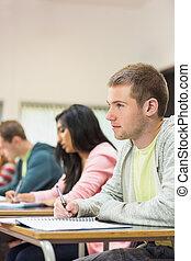 sala aula, estudantes, notas, jovem, escrita