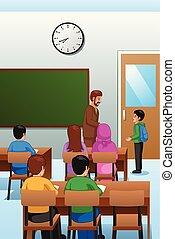 sala aula, estudantes, professor, ilustração