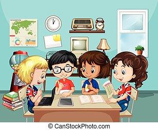 sala aula, estudar, crianças