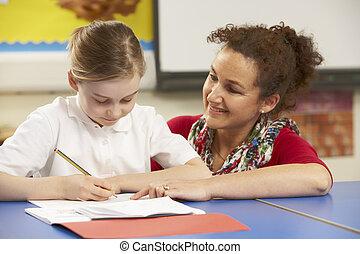 sala aula, estudar, schoolgirl, professor