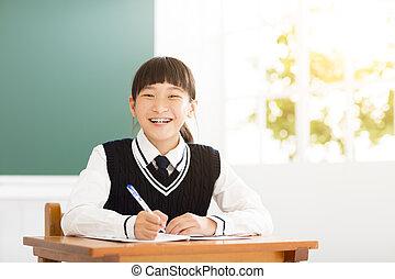 sala aula, estudo, adolescente, menina, feliz
