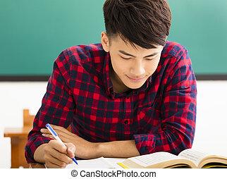 sala aula, estudo, estudante universitário, macho, universidade