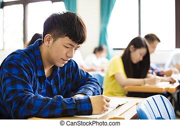 sala aula, grupo, estudantes, notas, jovem, escrita