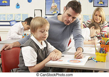 sala aula, grupo, primário, professor, schoolchildren, lição...