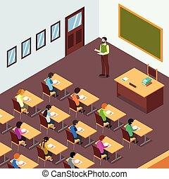 sala aula, isometric, estudante, ilustração, professor