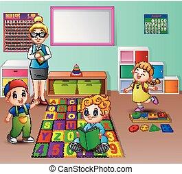 sala aula, jardim infância, professor, estudante