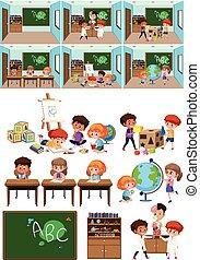 sala aula, jogo, crianças