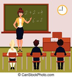 sala aula, lição, pupilas, matemática, professor