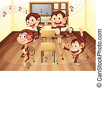 sala aula, macacos