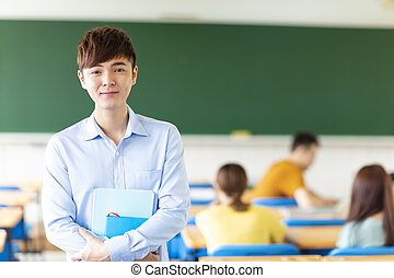 sala aula, macho, faculdade, asiático, estudante