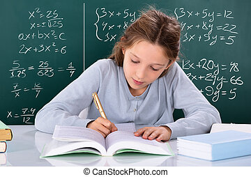 sala aula, menina, estudo