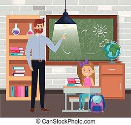 sala aula, menina, professor masculino, estudante