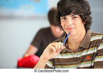 sala aula, menino, adolescente