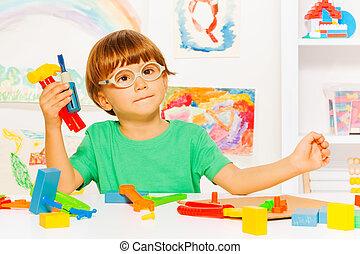 sala aula, menino, ferramentas, esperto, plástico