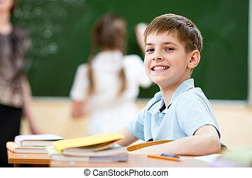 sala aula, menino, lição escola