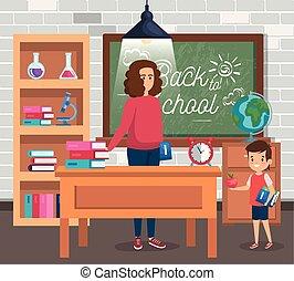 sala aula, menino, mulher, professor, estudante