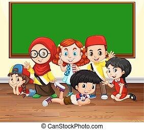 sala aula, muitos, crianças