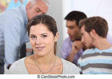 sala aula, mulher, jovem
