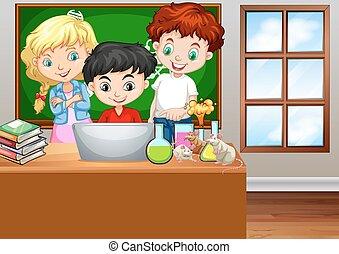 sala aula, olhar, computador, crianças