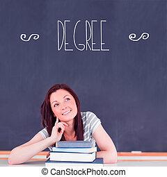 sala aula, pensando, contra, grau, estudante