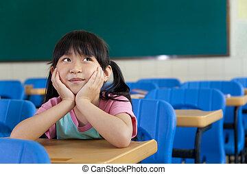 sala aula, pensando, pequeno, menina escola