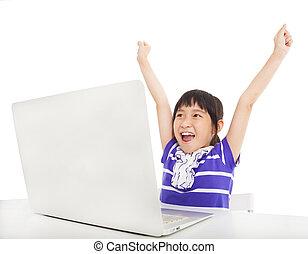 sala aula, pequeno, computador, aprendizagem, menina, feliz