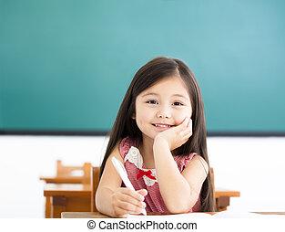 sala aula, pequeno, escrivaninha escrito, menina, feliz