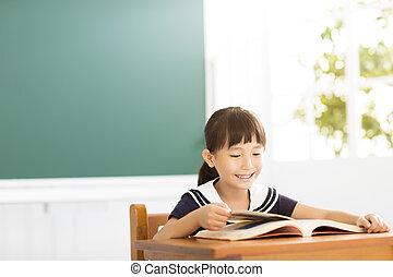 sala aula, pequeno, estudo, menina, feliz