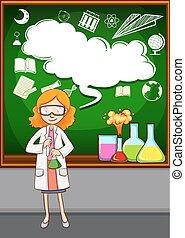 sala aula, professor ciência, frente