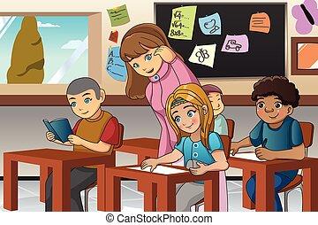 sala aula, professor, estudante