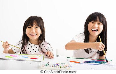 sala aula, quadro, crianças, feliz