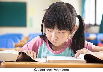 sala aula, sozinha, pequeno, estudo, menina