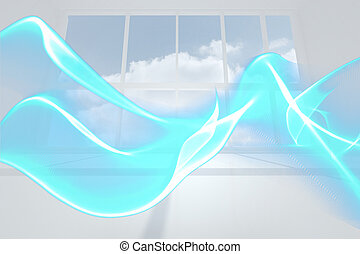 sala, azul, projeto abstrato, onda