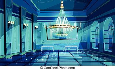 sala ballo, vettore, salone, illustrazione, notte