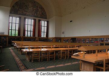 sala, biblioteca, referência, dicionário, vista