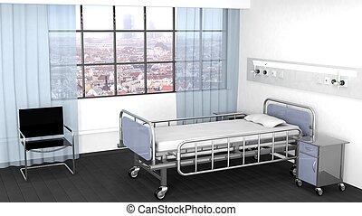 sala, cama hospital, janela, mesa de cabeceira, cadeira