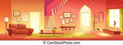 sala, casa, vector, interior, caricatura, cómodo