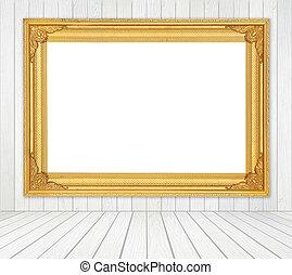 sala, chão, frame parede, madeira, fundo, em branco, branca