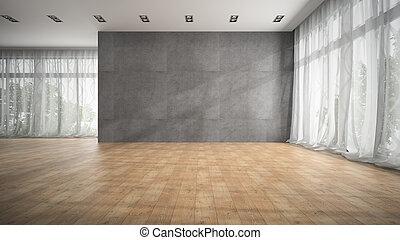 sala, chão, modernos, fazendo, desenho, parquet, vazio, 3d