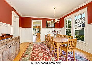 sala, clássicas, jantar, americano, tons, interior, vermelho