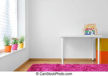 sala, coloridos, criança
