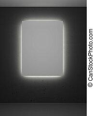 sala, com, backlight, e, bordas