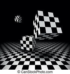 sala, com, checkered, cubos
